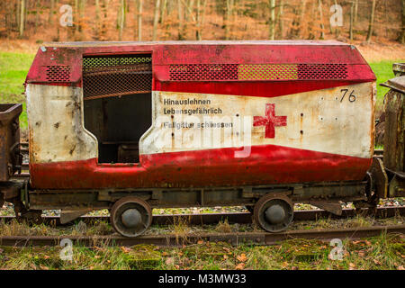 Ambulance carriage of a mine train, visitor's mine Grube Fortuna, Solms, Germany - Stock Photo