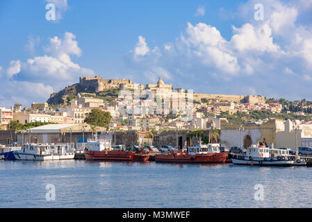 View of Milazzo town from the sea, Sicily, Italy - Stock Photo