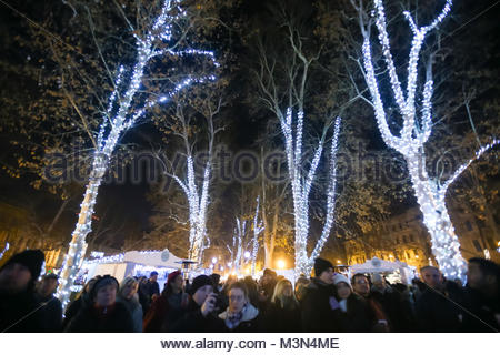 ZAGREB, CROATIA - DECEMBER 1th, 2016: Advent time in city center of Zagreb, Croatia. People gathering in the Zrinjevac - Stock Photo