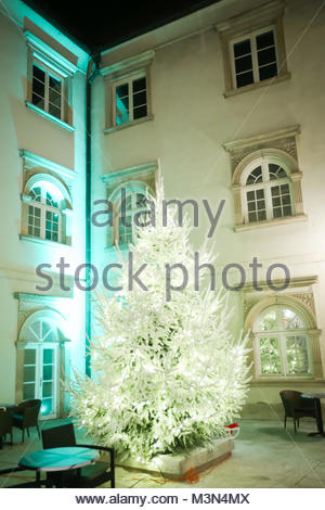 ZAGREB, CROATIA - DECEMBER 1th, 2016: Advent time in city center of Zagreb, Croatia. An illuminated pine tree in - Stock Photo