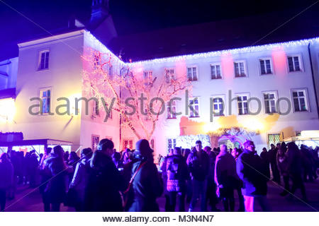ZAGREB, CROATIA - DECEMBER 1th, 2016: Advent time in city center of Zagreb, Croatia. People sightseeing the ornate - Stock Photo