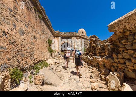 CRETE, GREECE - JULY 18, 2016: The ruins of ancient Venetian fortress on the island Imeri Gramvousa. Mediterranean - Stock Photo