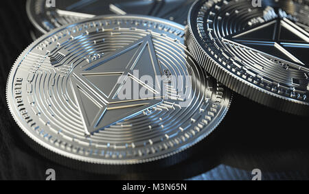 Shiny silver Ethereum (ETH) concept coin stack in blurry close-up shot. 3D rendering - Stock Photo