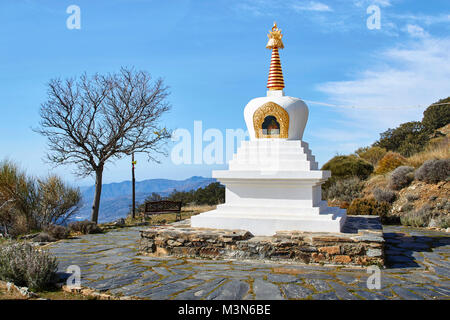 White temple at O Sel Ling, Centro de Retiros, Las Alpujarras, Andalusia, Spain - Stock Photo