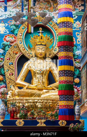 Coorg, India - October 29, 2013: Inside Padmasambhava Vihara of Namdroling Buddhist Monastery. Closeup of the golden - Stock Photo