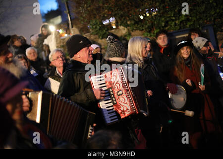 Residents of Stoke Gabriel, Devon, celebrate the yearly Wassail, a pagan ceremony that celebrates and blesses the - Stock Photo