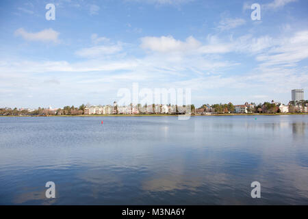 February 4, 2018: Orlando, Florida: View across Lake Buena Vista of Disney Springs Resort and Spa - Stock Photo