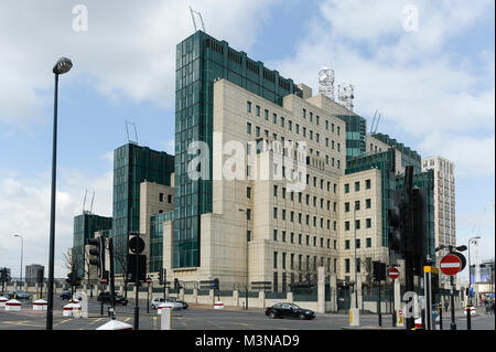 SIS Building on the South Bank of the River Thames in London, England, United Kingdom. April 5th 2015. Completed - Stock Photo