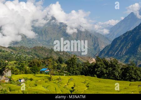 Shikha, mountain village in Himalayas near Annapurna range, Nepal - Stock Photo