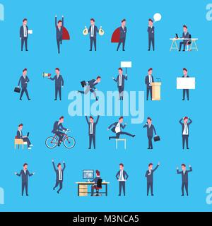 Set Of Business Man Icon Male Office Worker Posing Businessman Corporate Different Situations Collection - Stock Photo
