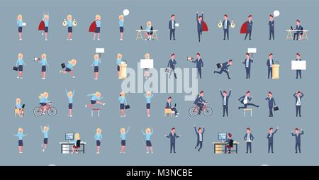 Set Of Business Man And Woman Icon Male Female Office Worker Posing Corporate Different Situations Collection - Stock Photo