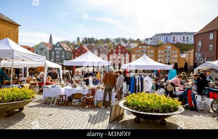 TRONDHEIM, NORWAY - MAY 14, 2017: The Bryggerekka Bruktmarked in Trondheim - an outdoor flea market – takes place - Stock Photo