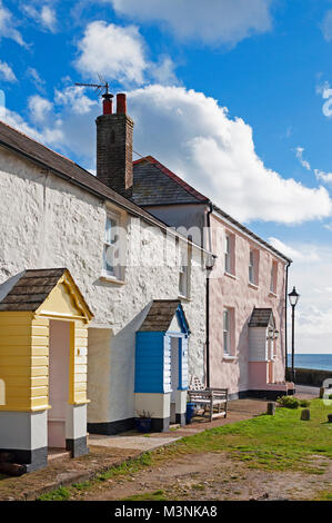 holiday cottages at charlestown in cornwall, england, uk. - Stock Photo
