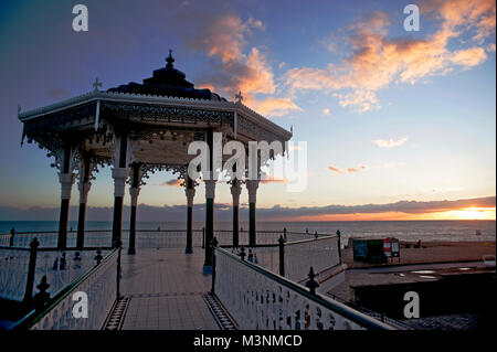 The Victorian Bandstand on Brighton and Hove's seafront first opened in 1884. It was restored to its original specification - Stock Photo