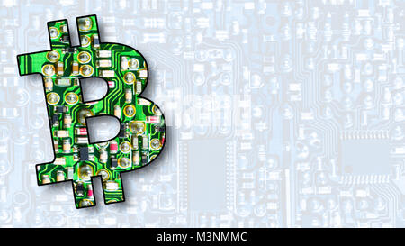 Bitcoin, crypto currencies and virtual worldwide payment system. Texture from electronic components with colorful - Stock Photo