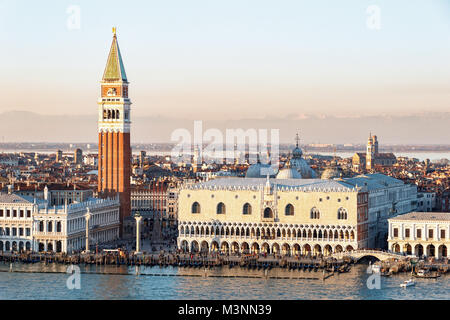 VENICE, ITALY - DECEMBER 20, 2017: Aerial view of San Marco in Venice with the Doges' Palace and the bell tower - Stock Photo
