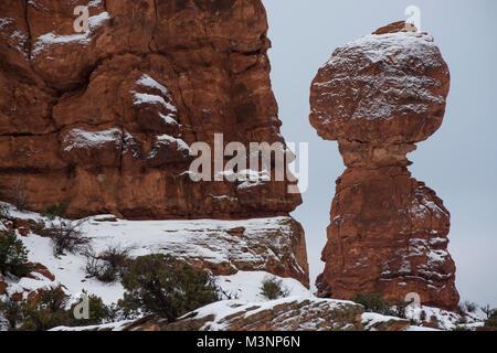 Balanced Rock, dusted with snow - Stock Photo