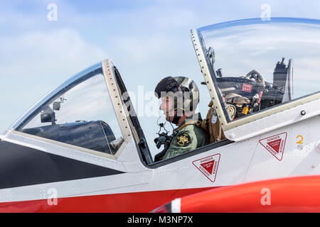 Close up of BAC Jet Provost pilot taxiing - Stock Photo