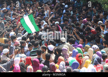 people in slain rebels funeral, Sopore town, Kashmir, India, Asia - Stock Photo
