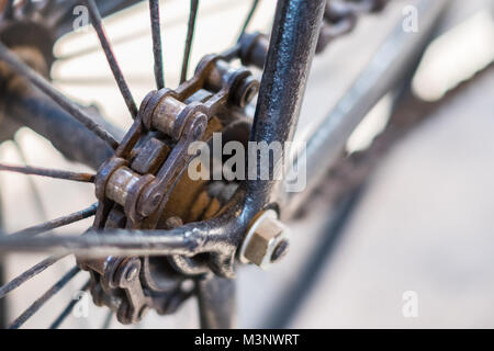 Bicycle chain macro, closeup of old bicycle chain - - Stock Photo