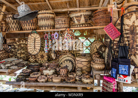 Aninuan, Oriental Mindoro, Philippines - 5/20/2015: Handicrafted baskets, bowls, containers, plates and other objects - Stock Photo