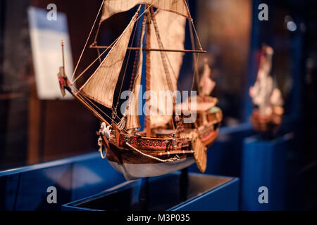 Berlin, Germany - February 2018: Boat model exhibition inside the German Museum of Technology (Deutsches Technikmuseum). - Stock Photo