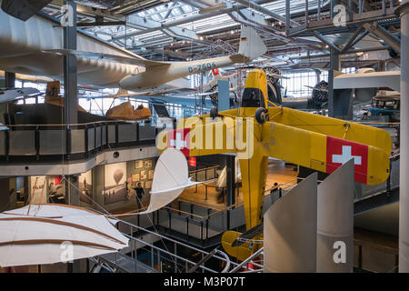 Berlin, Germany - February, 2018: Airplanes at aviation exhibition inside the German Museum of Technology (Deutsche - Stock Photo