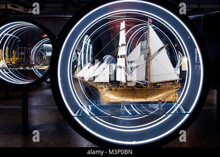 Berlin, Germany - February 2018: Boat and ship  model exhibition inside the German Museum of Technology (Deutsches - Stock Photo