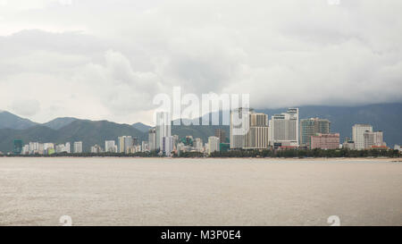View of Nha Trang downtown, Nha Trang is a coastal city and capital located in South Central Coast of Vietnam. - Stock Photo