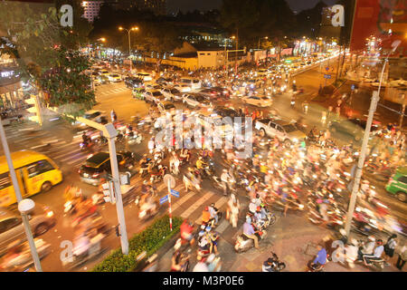 Traffic jam with a lot of cars on the roads of Ho Chi Minh City. Vietnam. Fast shooting. - Stock Photo