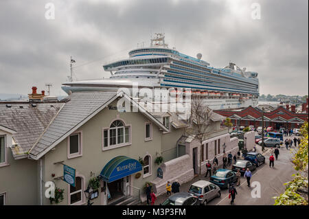 Cruise liner Emerald Princess moored at Cobh Cruise Terminal, Cobh, Port of Cork, Ireland with copy space. - Stock Photo