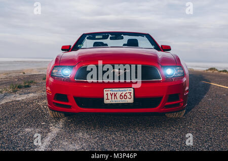BONNEVILLE ,UTAH, USA JUNE 4, 2015: Photo of a Ford Mustang Convertible 2012 version at Bonneville Salt Flats,Utah,USA. - Stock Photo