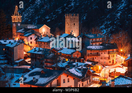 a nice old village in mountain during the winter season close to the xmas in Italy - Stock Photo