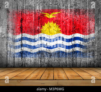 Kiribati flag painted on background texture gray concrete with wooden floor - Stock Photo