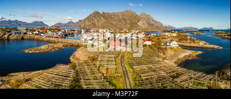 Henningsvaer fishing village on Lofoten islands from above - Stock Photo