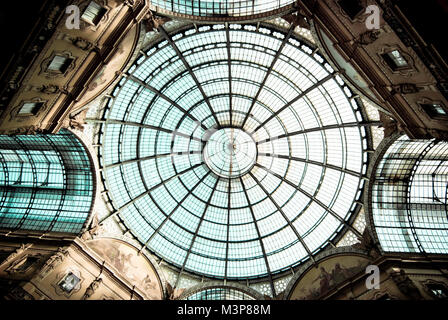 detail of the glass roof of the Vittorio Emanuele II gallery, Milan, Italy. - Stock Photo