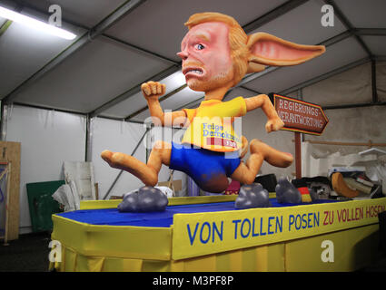 A political caricature float featuring 'Christian Lindner, FDP politician' is prepared for the Rosenmontag (Shrove - Stock Photo