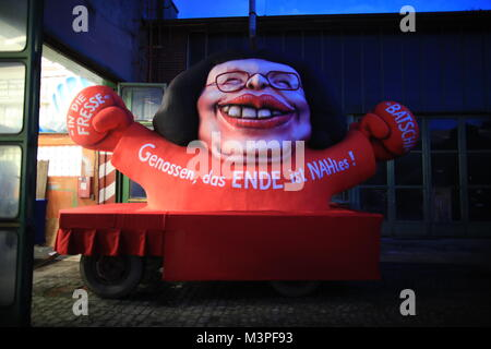 A political caricature float featuring 'Andrea Nahles, parliamentary party leader of the SPD' is prepared for the - Stock Photo