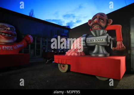 A political caricature float featuring 'Martin Schulz, currently still leader of the SPD' is prepared for the Rosenmontag - Stock Photo