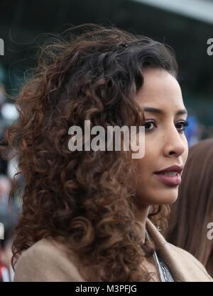 Paris, France. 11th Feb, 2018. Flora Coquerel Miss France 2014 during the 2018 Grand Prix de France, horse racing - Stock Photo