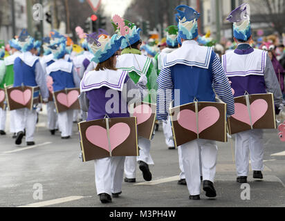 A group of costumed carnival-goers take part in the Rosenmontag (Shrove Monday) carnival procession in Duesseldorf, - Stock Photo