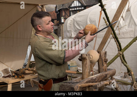 York, UK, 12th February 2018. Person dressed as a Viking at the annual Jorvik Viking Festival held in the city centre - Stock Photo