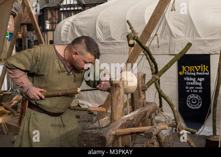 York, UK, 12th February 2018, Person dressed as a Viking at the annual Jorvik Viking Festival held in the city centre - Stock Photo
