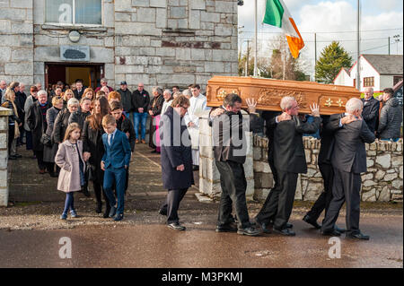 Ovens, Ireland. 12th Feb, 2018. The funeral of footballer Liam Miller took place today at St. John the Baptist Church, - Stock Photo