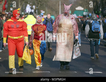 Carnival goers in costume take part in the Rosenmontag (Shrove Monday) carnival procession in Duesseldorf, Germany, - Stock Photo