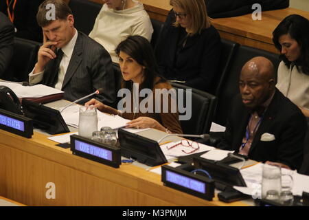 UN, New York, USA. 12th Feb, 2018. Nikki Haley, US Ambassador, speaks at UN meeting on Democratic Republic of the - Stock Photo