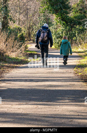 Musselburgh, East Lothian, Scotland, United Kingdom, 12th February 2017. A grandfather and his six year old grandson - Stock Photo