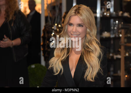 Frankfurt, Germany. 12th Feb, 2018. AMBIENTE: Model Sylvie Meis (* 1978) visits the AMBIENTE 2018 consumer goods - Stock Photo