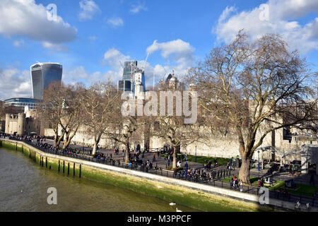 12th February, 2018. UK Weather. A cold and bright day on the North bank of the river Thames near the Tower of London - Stock Photo