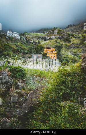 Local dwellings built on the mountain cliffs, surrounded by cultivated vegetation. Paul Valley. Cultivated sugarcane, - Stock Photo